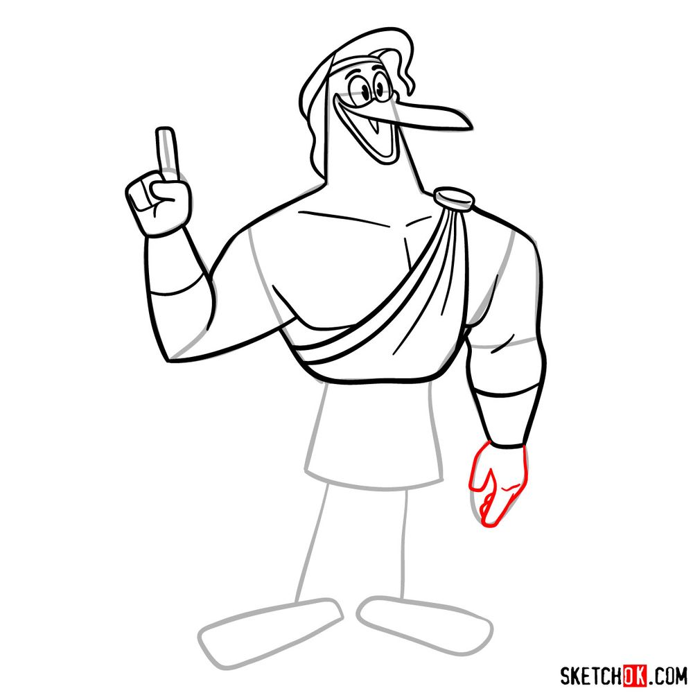 How to draw Storkules from DuckTales 2017 - step 14