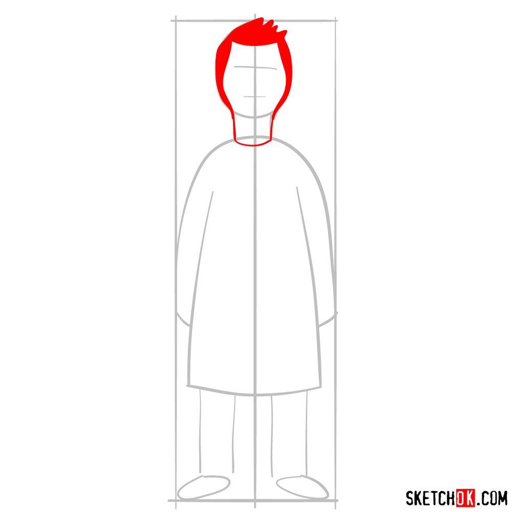 How to draw Bob Belcher - step 03