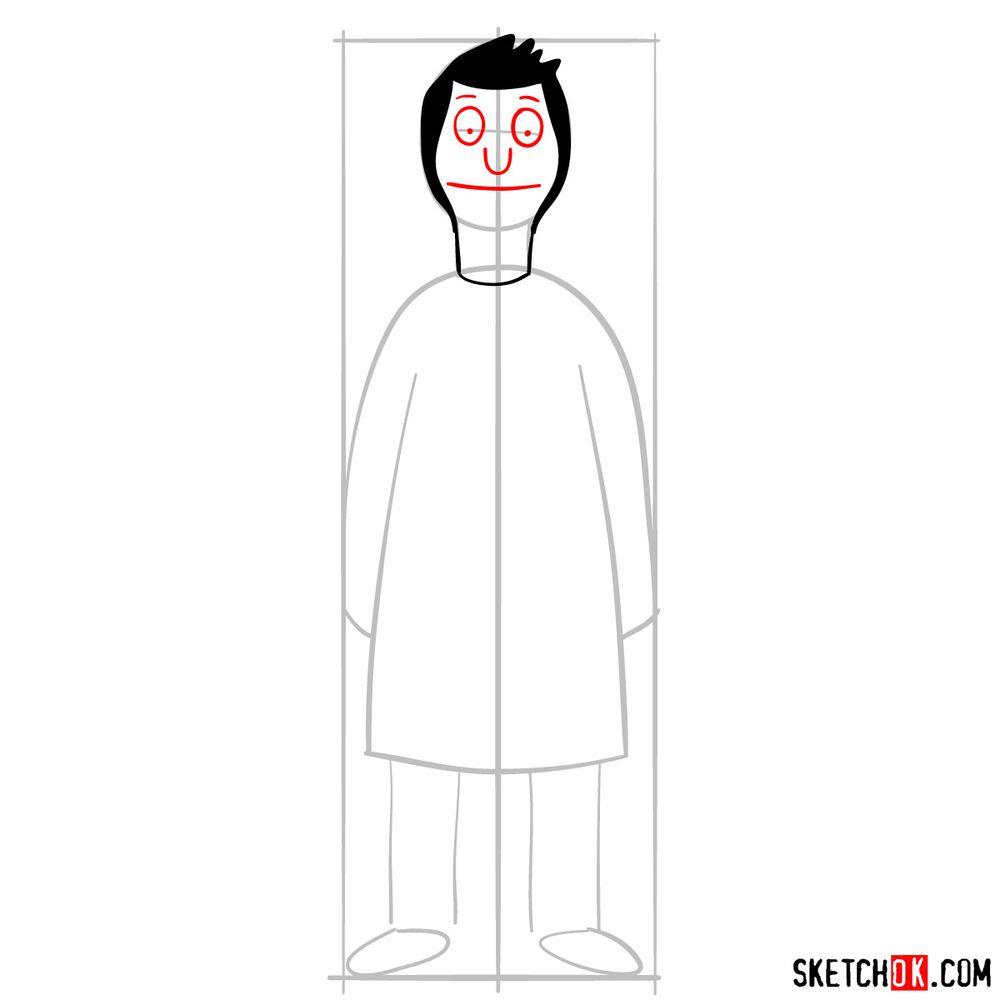 How to draw Bob Belcher - step 04