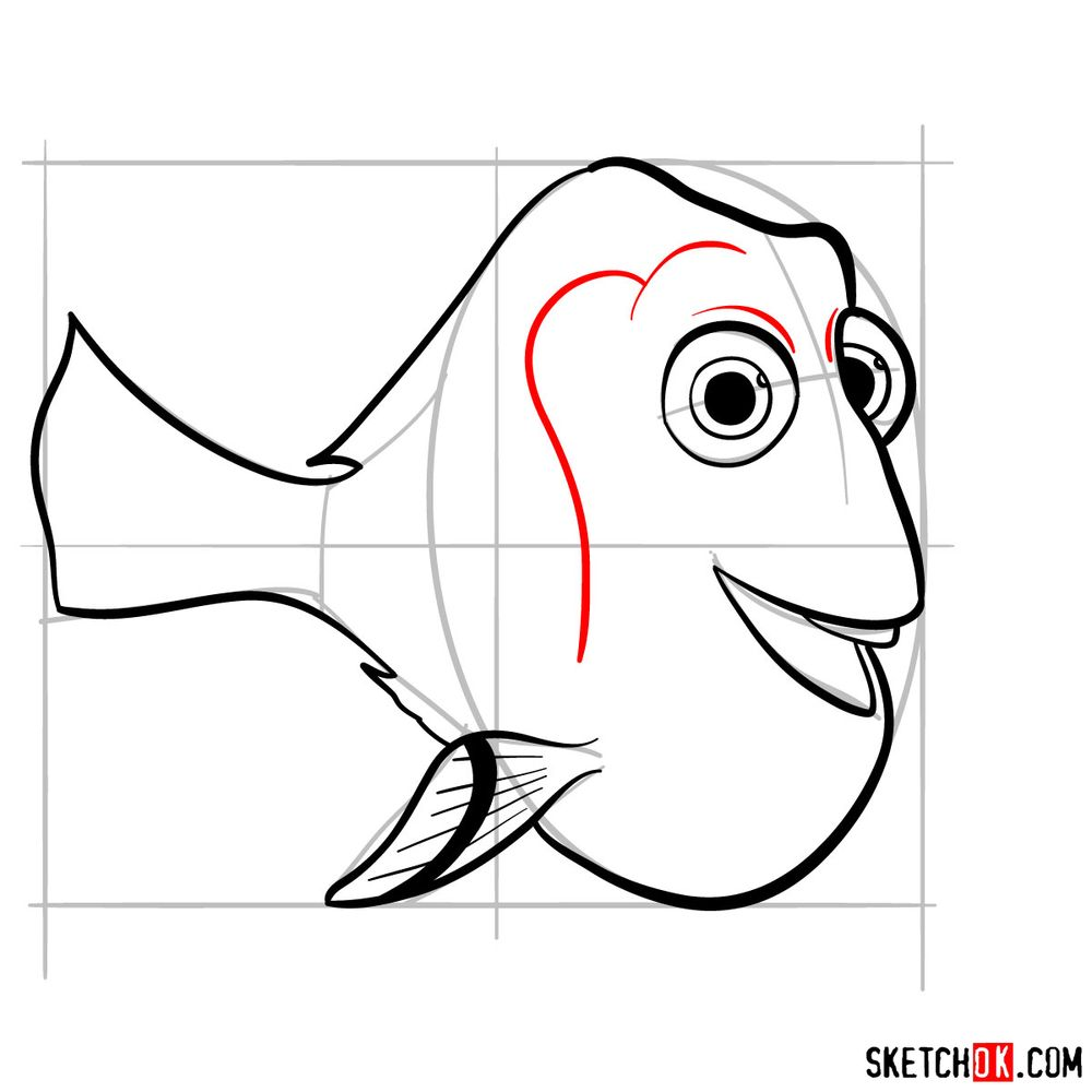 How to draw Dory - step 09