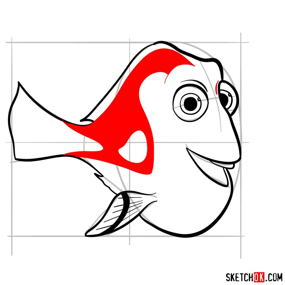 How to draw Dory - step 11