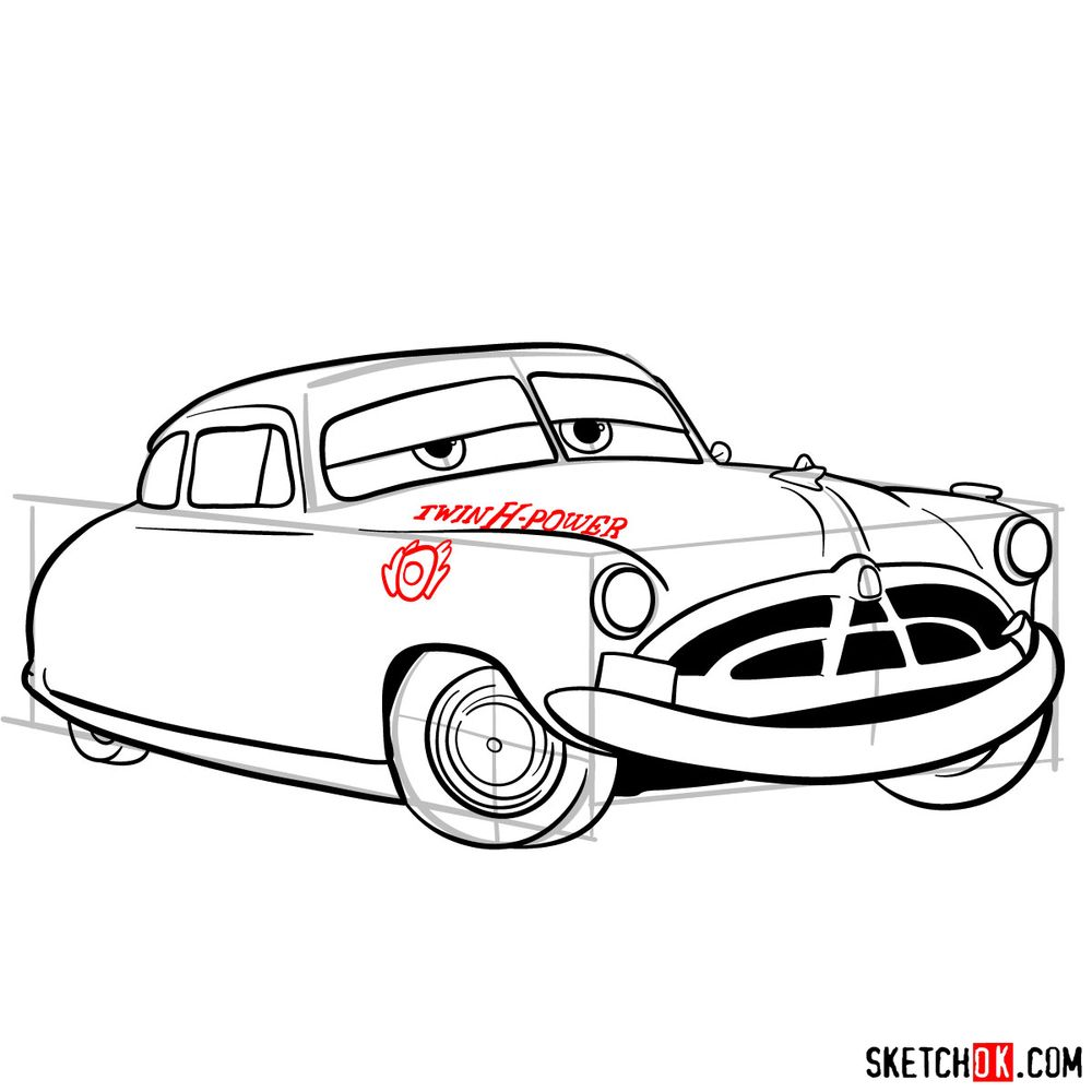 How to draw Doc Hudson | Cars - step 14