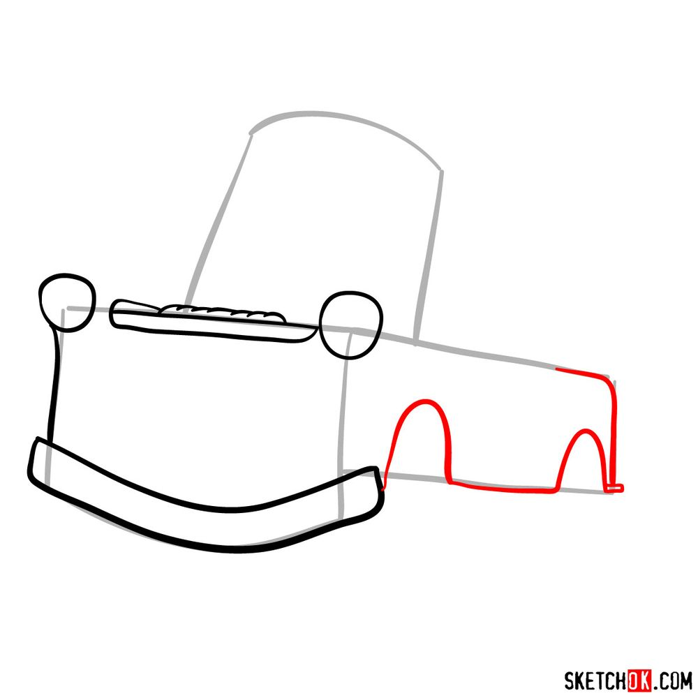How to draw Tow Mater from Pixar Cars - step 04