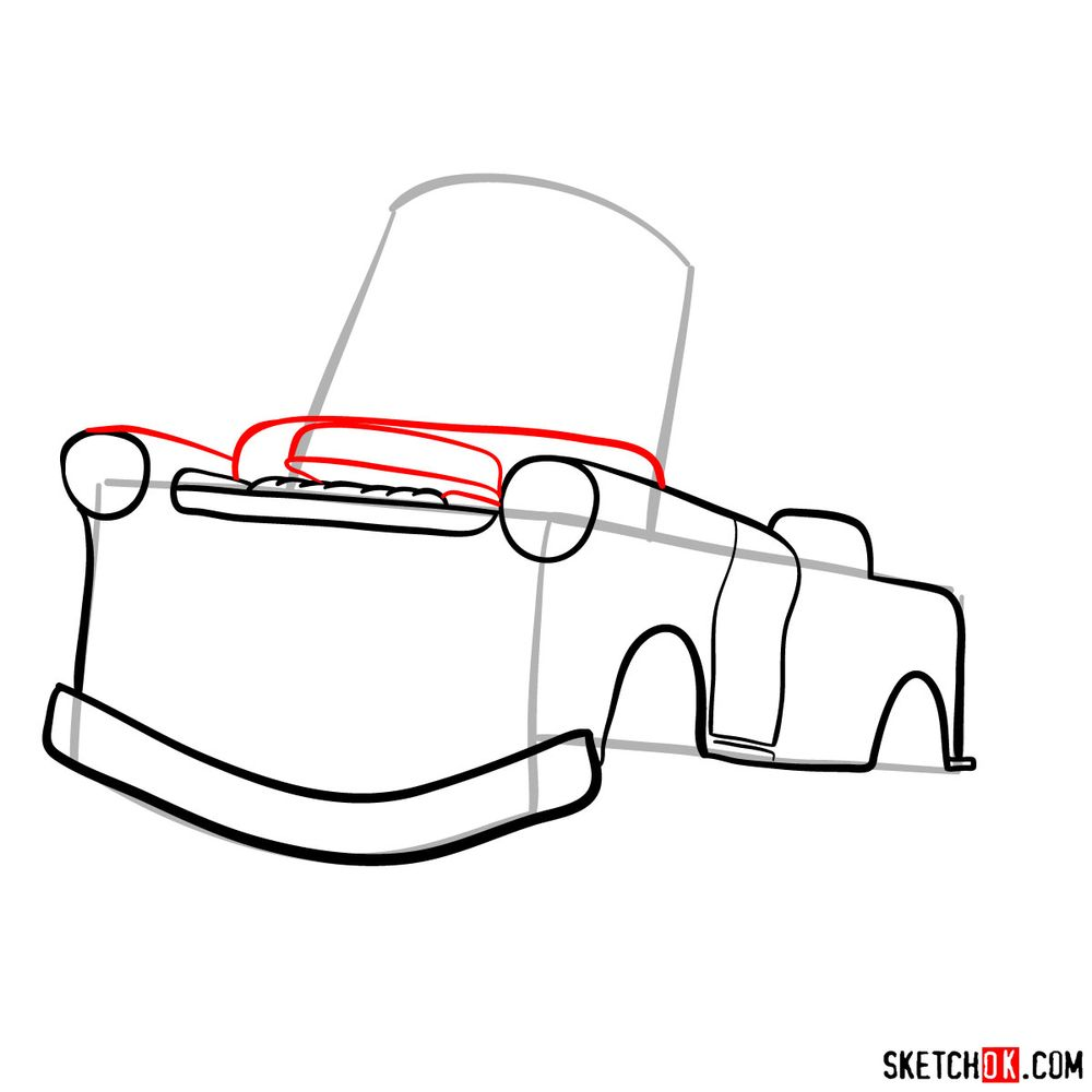 How to draw Tow Mater from Pixar Cars - step 06