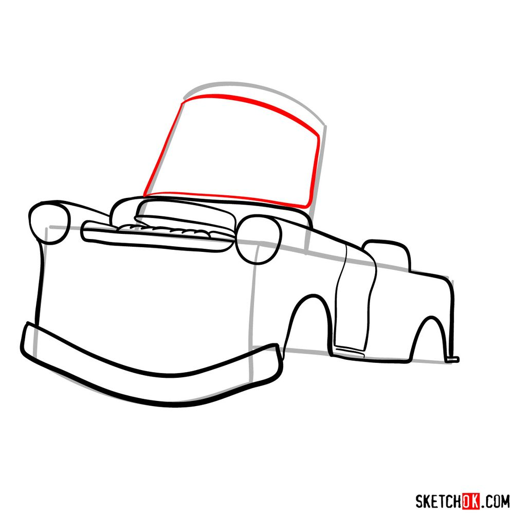 How to draw Tow Mater from Pixar Cars - step 07