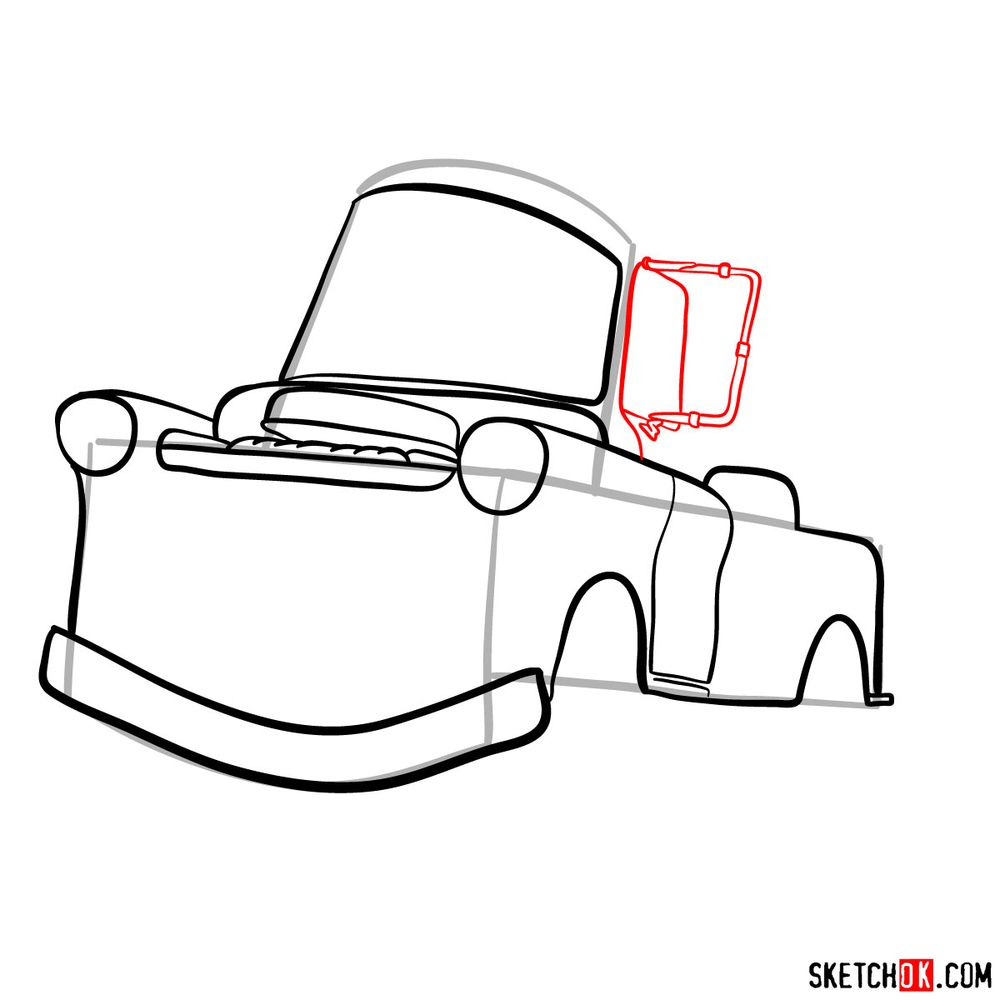 How to draw Tow Mater from Pixar Cars - step 08