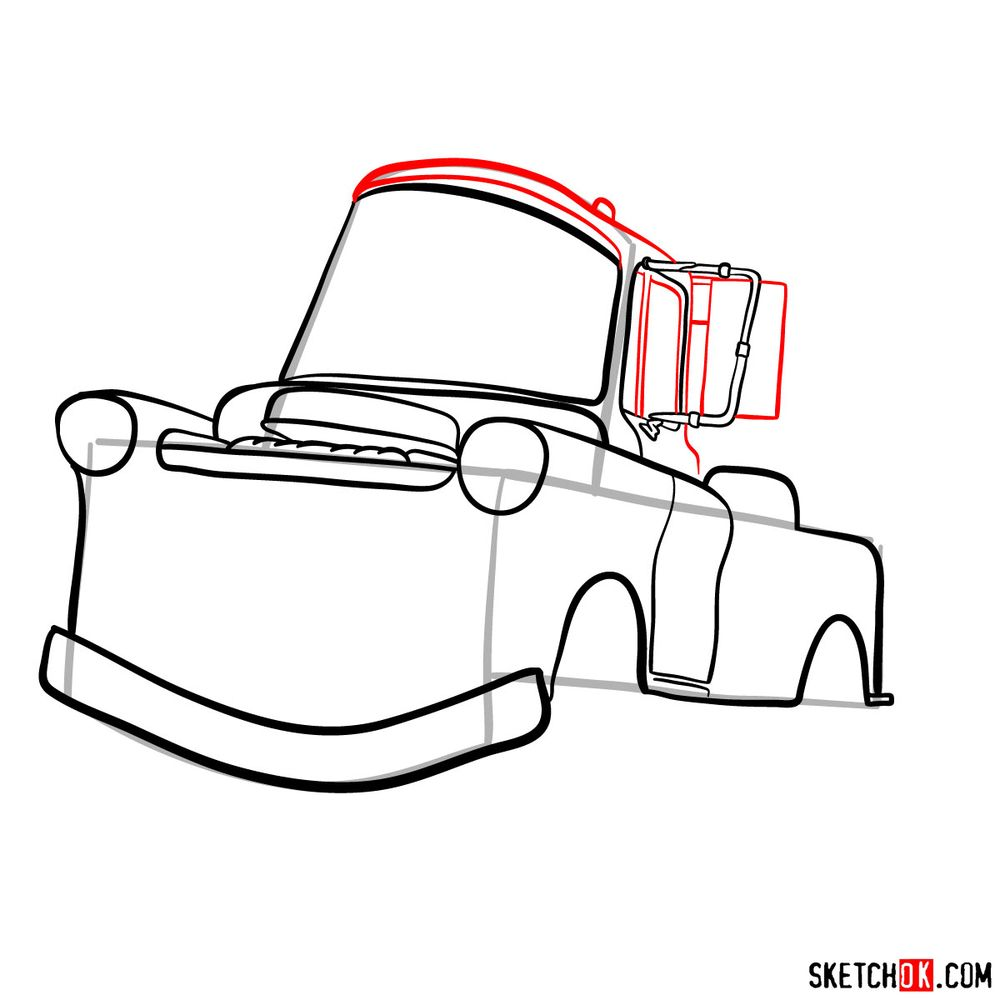 How to draw Tow Mater from Pixar Cars - step 09