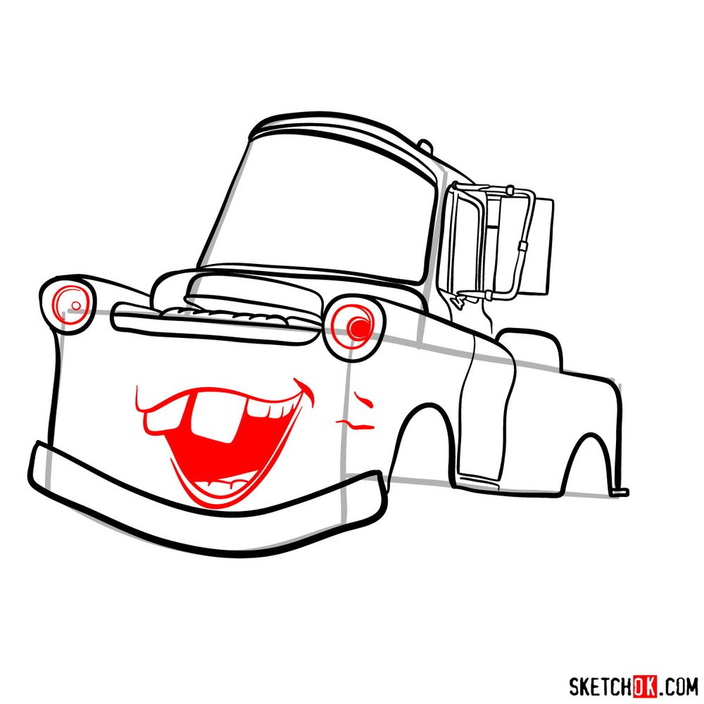 How to draw Tow Mater from Pixar Cars - step 10