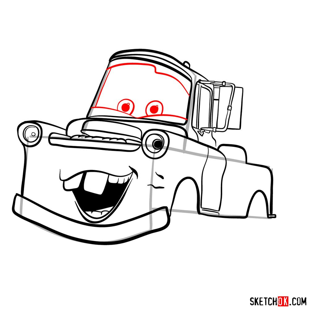How to draw Tow Mater from Pixar Cars - step 11
