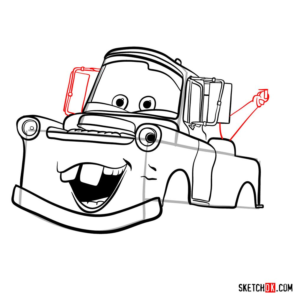 How to draw Tow Mater from Pixar Cars - step 12