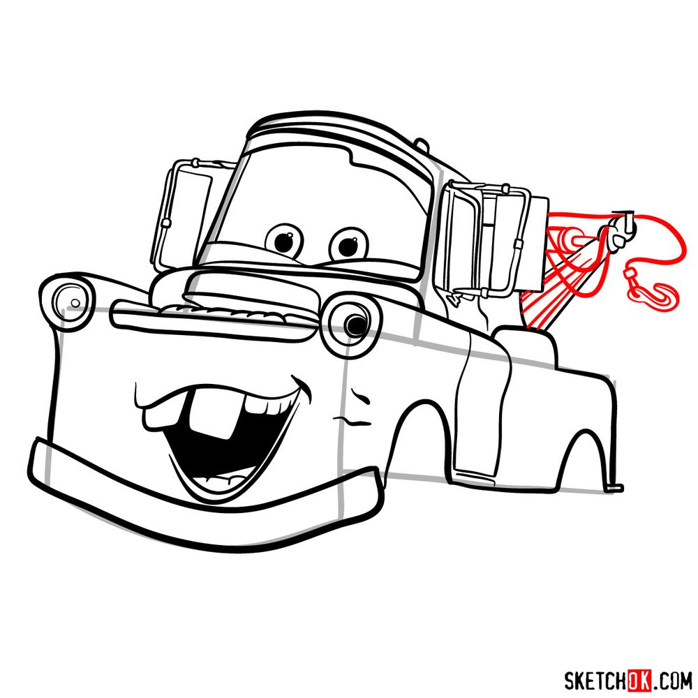 How to draw Tow Mater from Pixar Cars - step 13