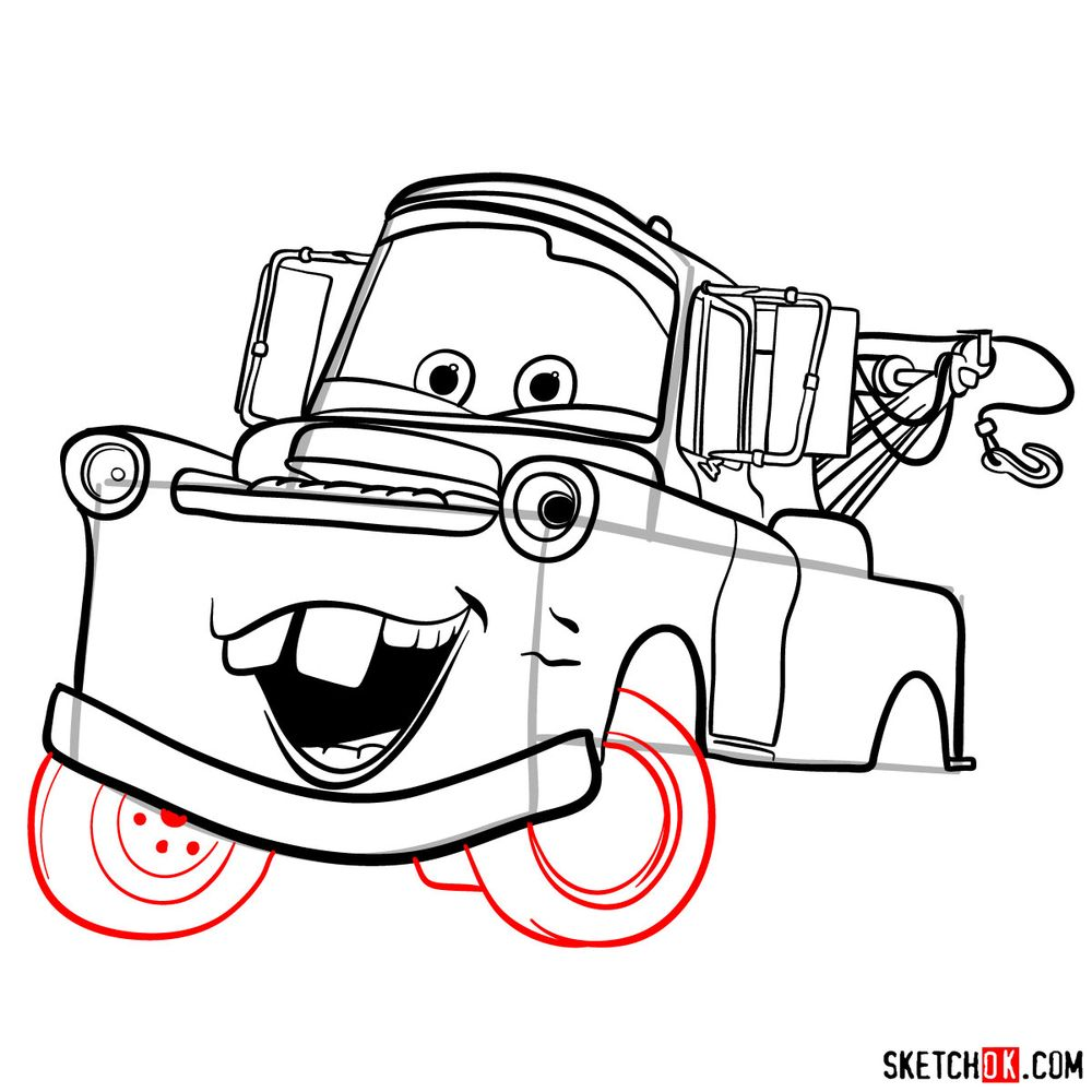 How to draw Tow Mater from Pixar Cars - step 14