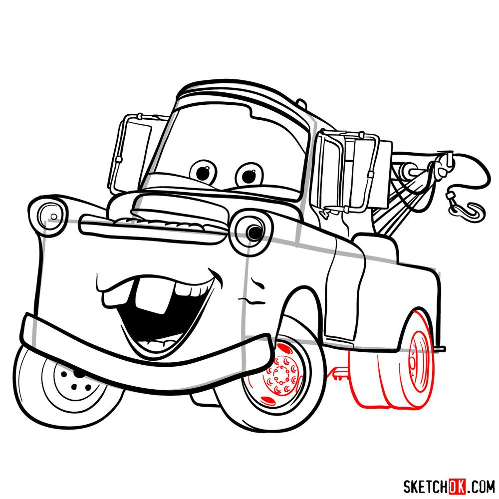 How to draw Tow Mater from Pixar Cars - step 15