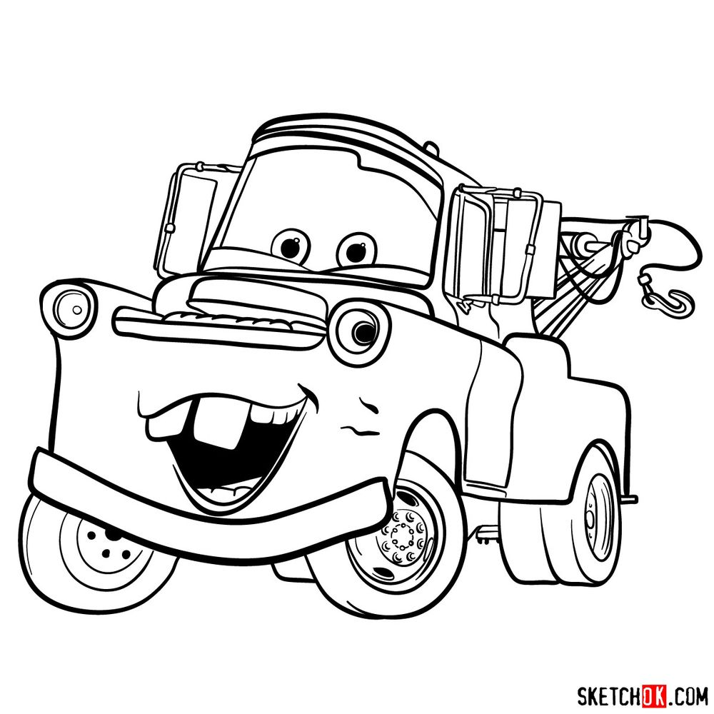How to draw Tow Mater from Pixar Cars