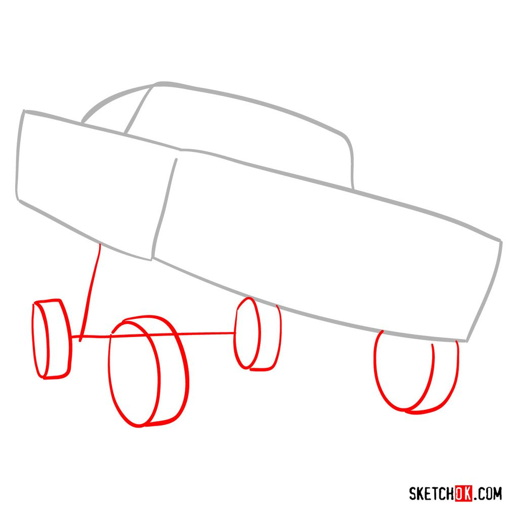 How to draw Ramone from Pixar Cars - step 02