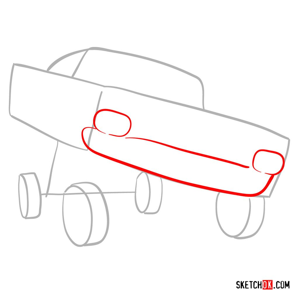 How to draw Ramone from Pixar Cars - step 03