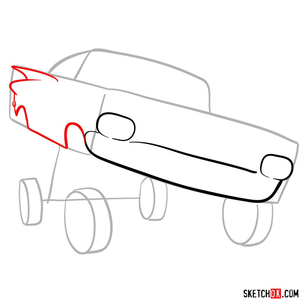 How to draw Ramone from Pixar Cars - step 04