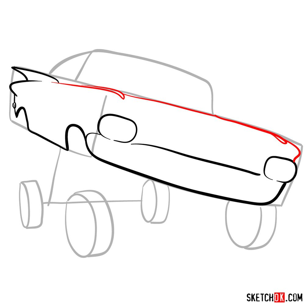 How to draw Ramone from Pixar Cars - step 05