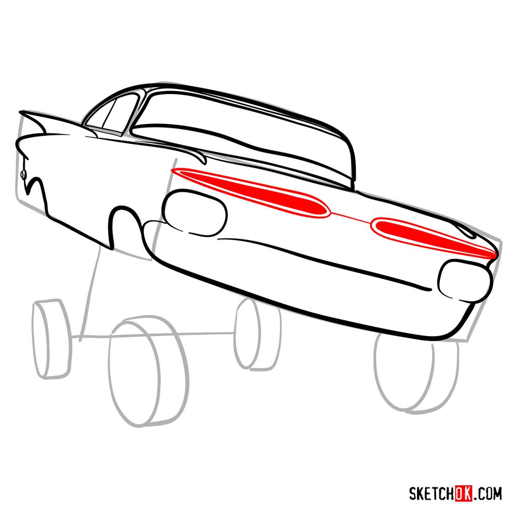 How to draw Ramone from Pixar Cars - step 08