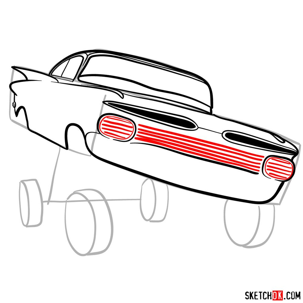 How to draw Ramone from Pixar Cars - step 09