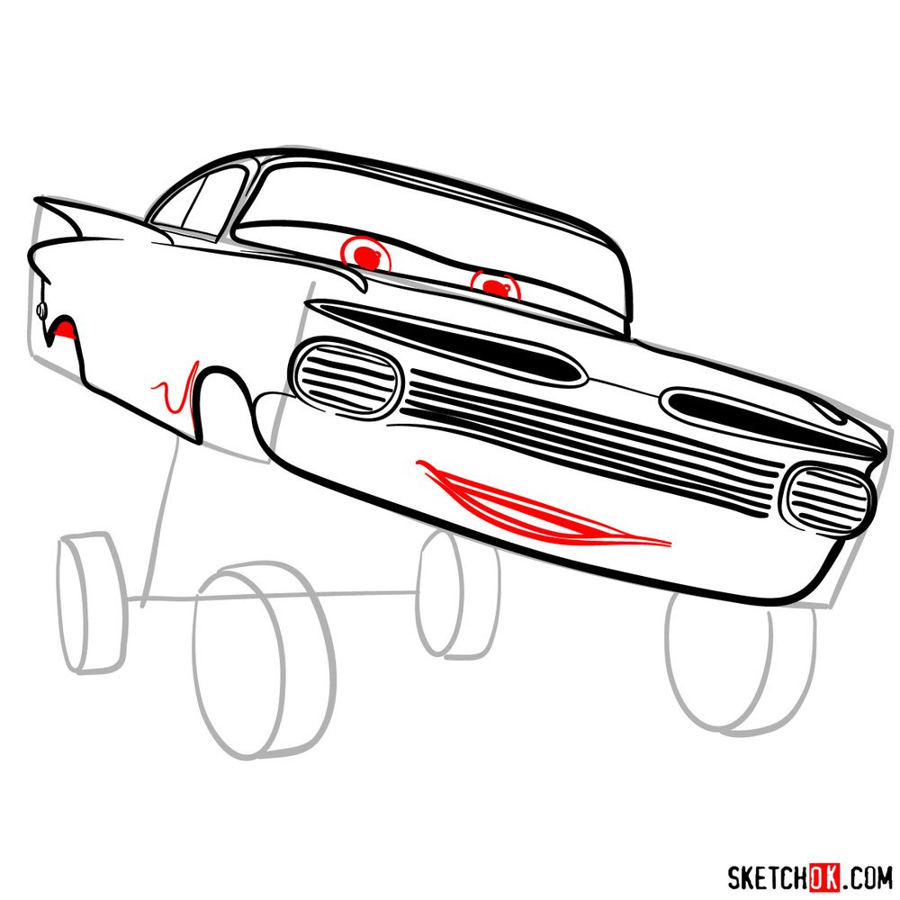 How to draw Ramone from Pixar Cars - step 10