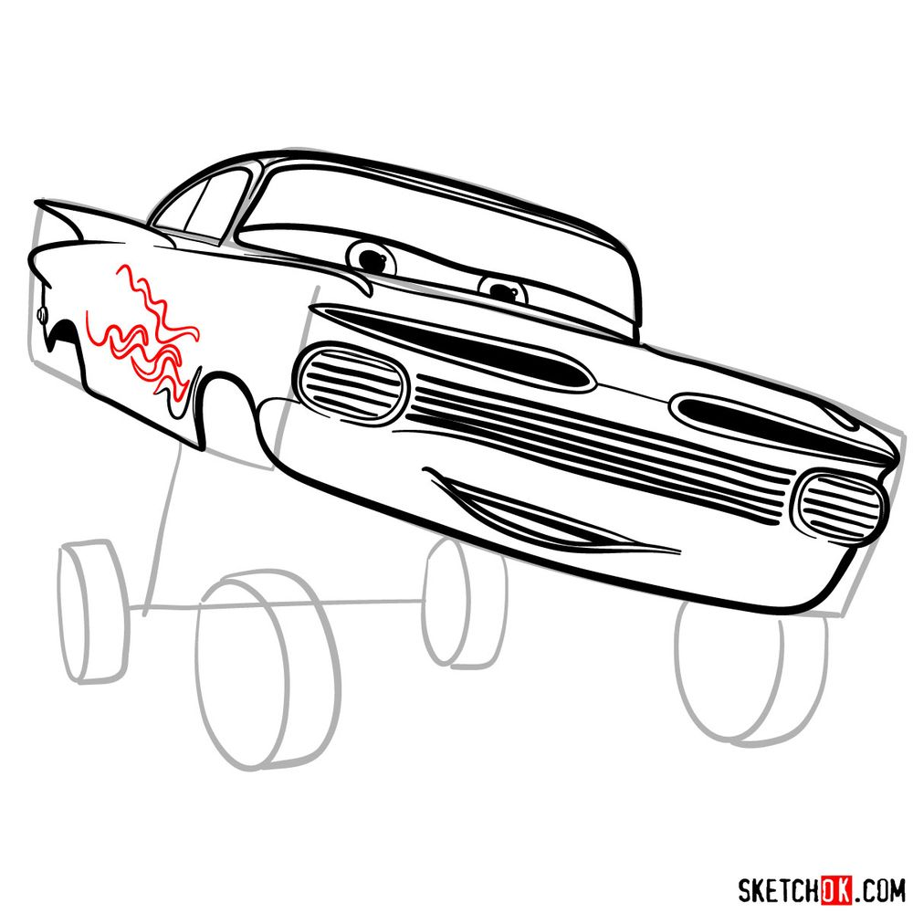 How to draw Ramone from Pixar Cars - step 11