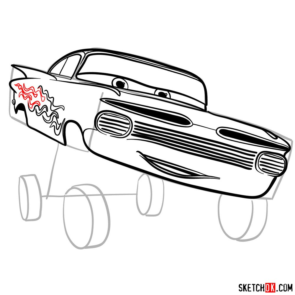 How to draw Ramone from Pixar Cars - step 12