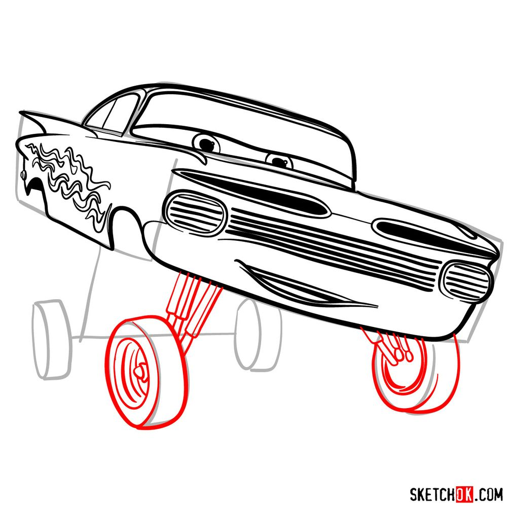 How to draw Ramone from Pixar Cars - step 13