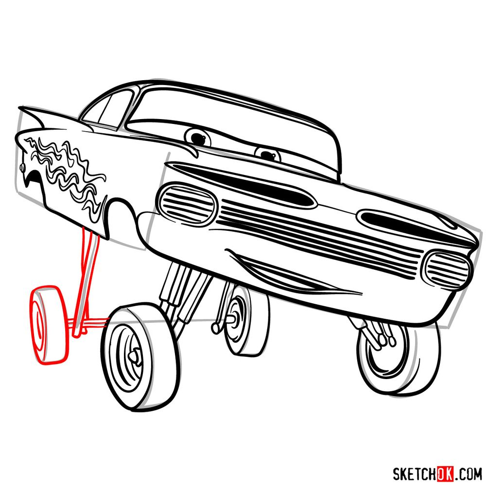 How to draw Ramone from Pixar Cars - step 15