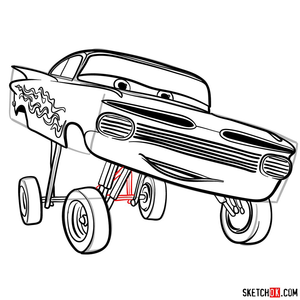 How to draw Ramone from Pixar Cars - step 16