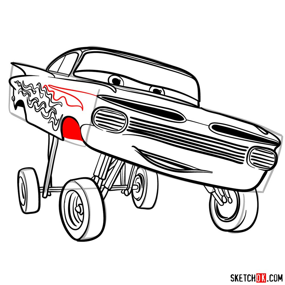 How to draw Ramone from Pixar Cars - step 17