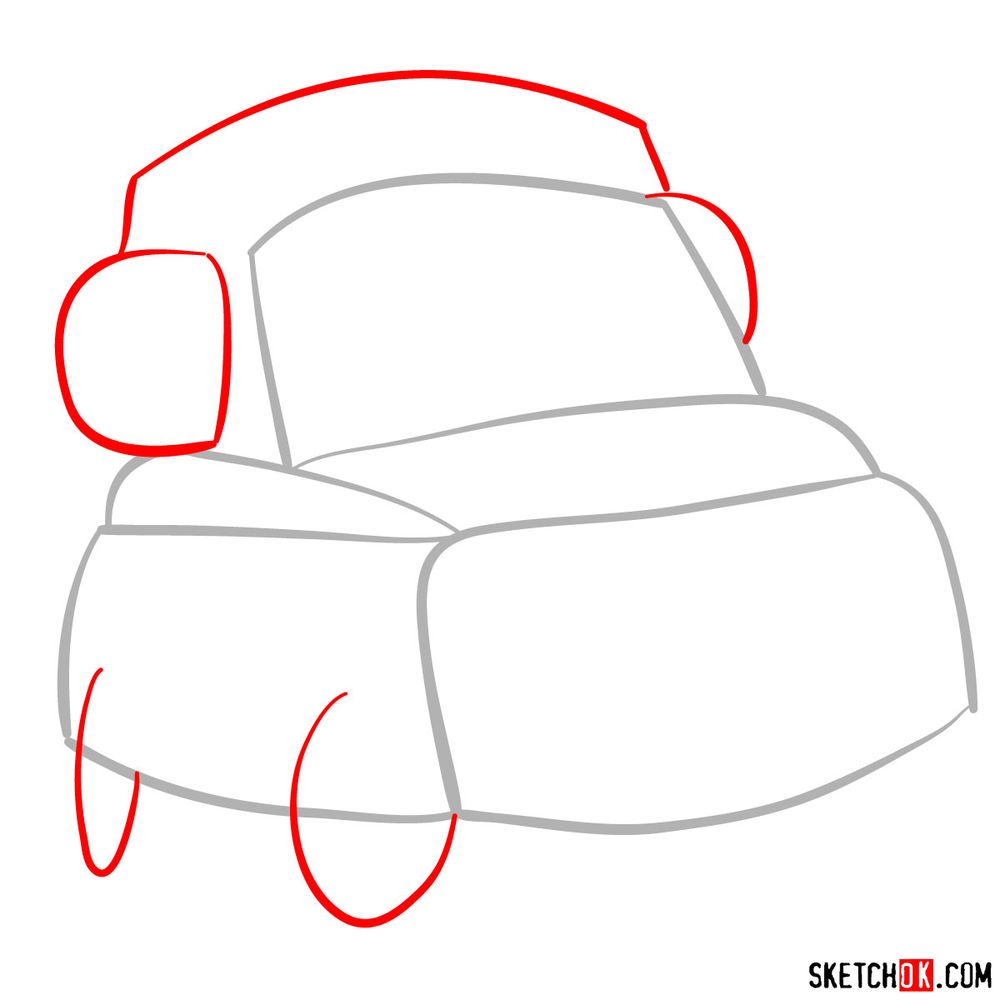 How to draw Luigi from Pixar Cars - step 02