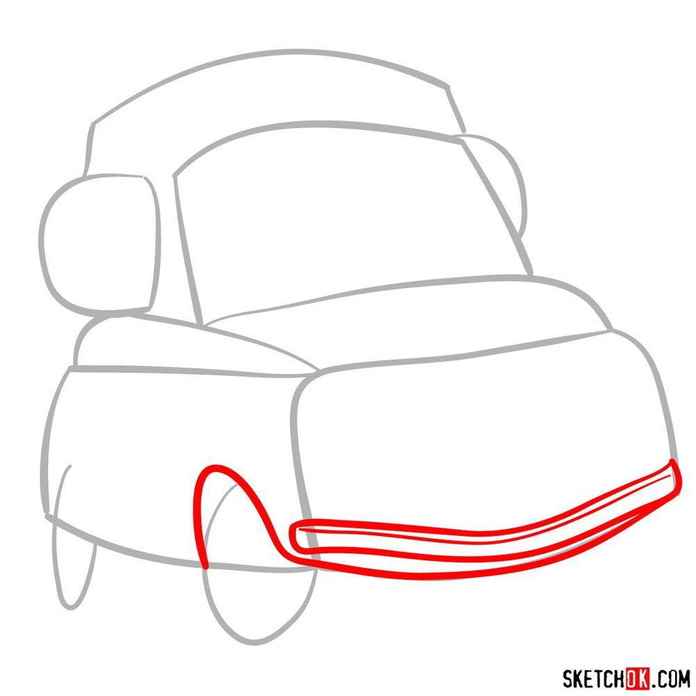 How to draw Luigi from Pixar Cars - step 03