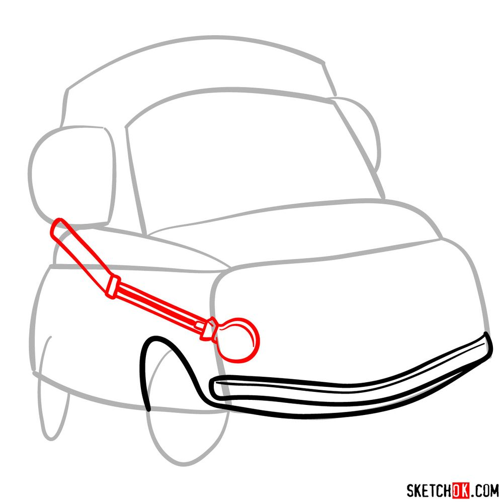 How to draw Luigi from Pixar Cars - step 04
