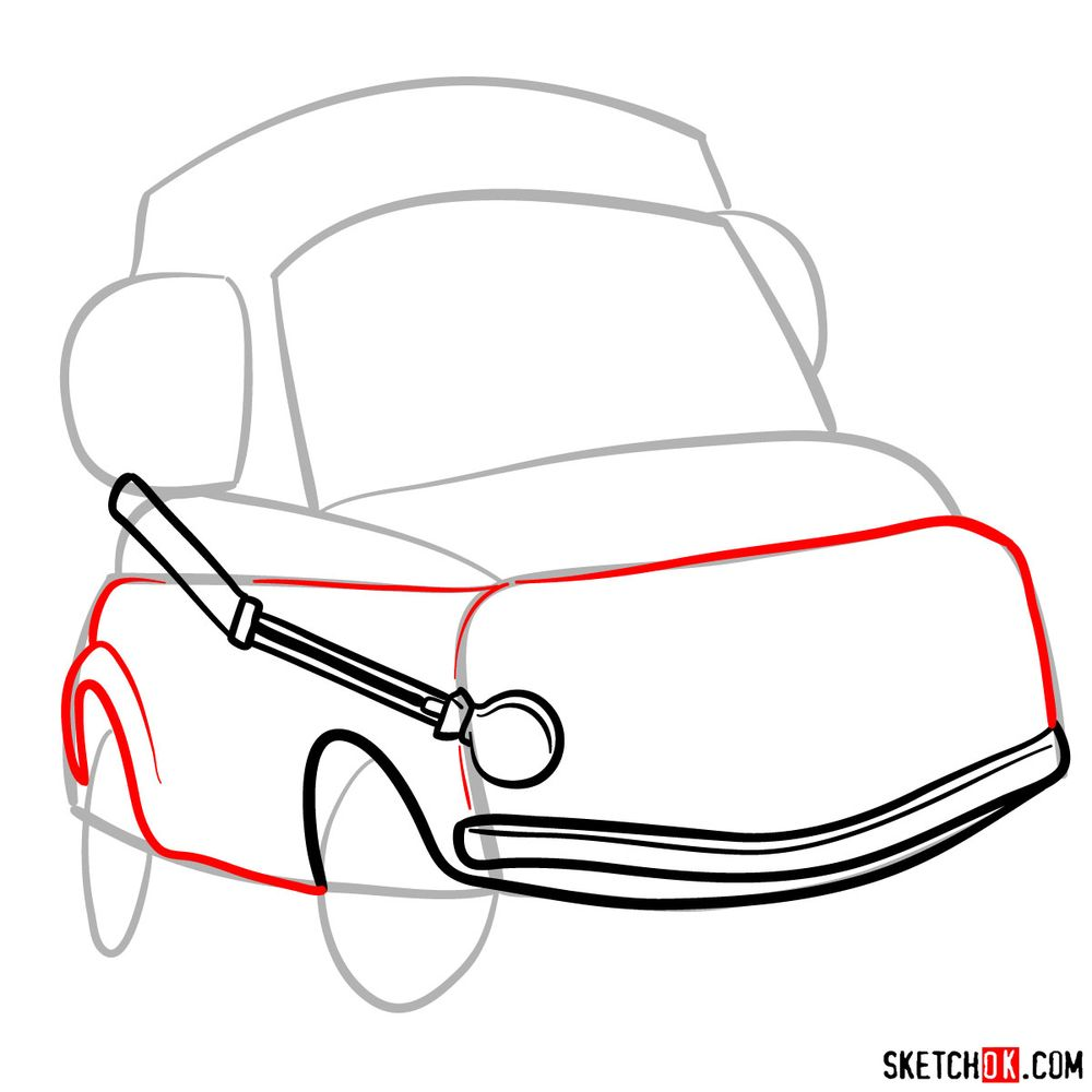 How to draw Luigi from Pixar Cars - step 05