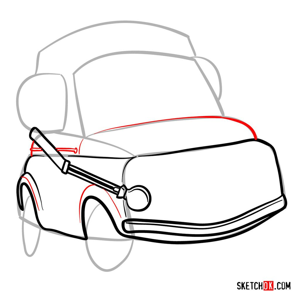 How to draw Luigi from Pixar Cars - step 06
