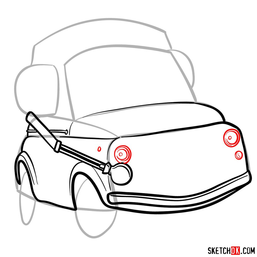 How to draw Luigi from Pixar Cars - step 07