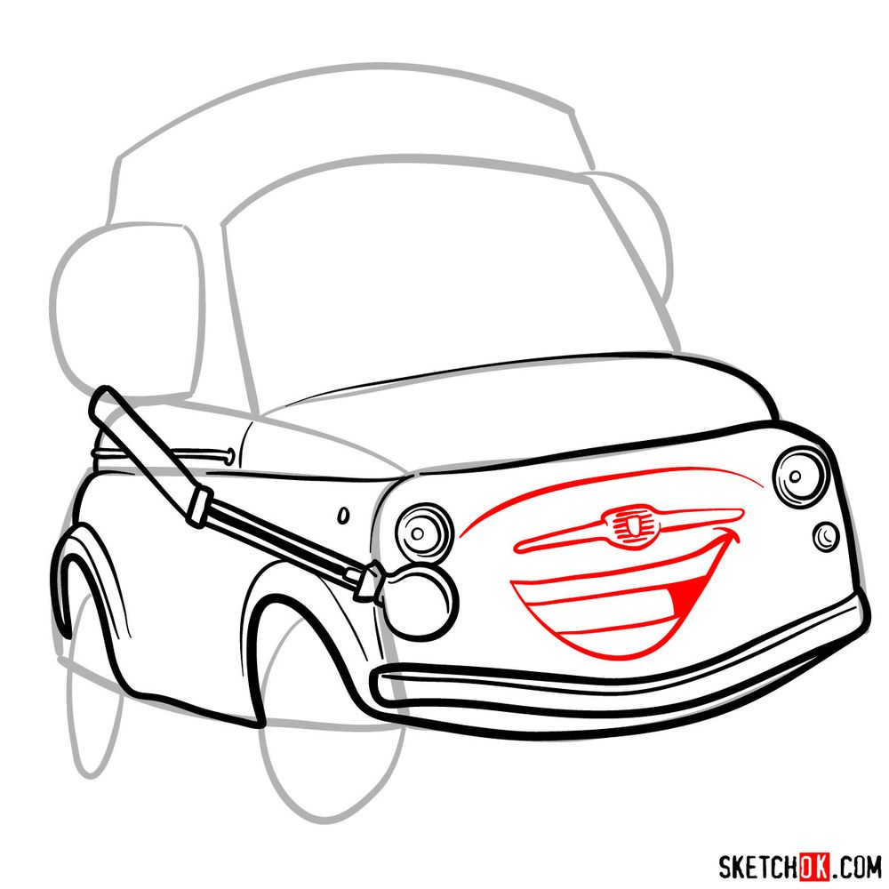 How to draw Luigi from Pixar Cars - step 08