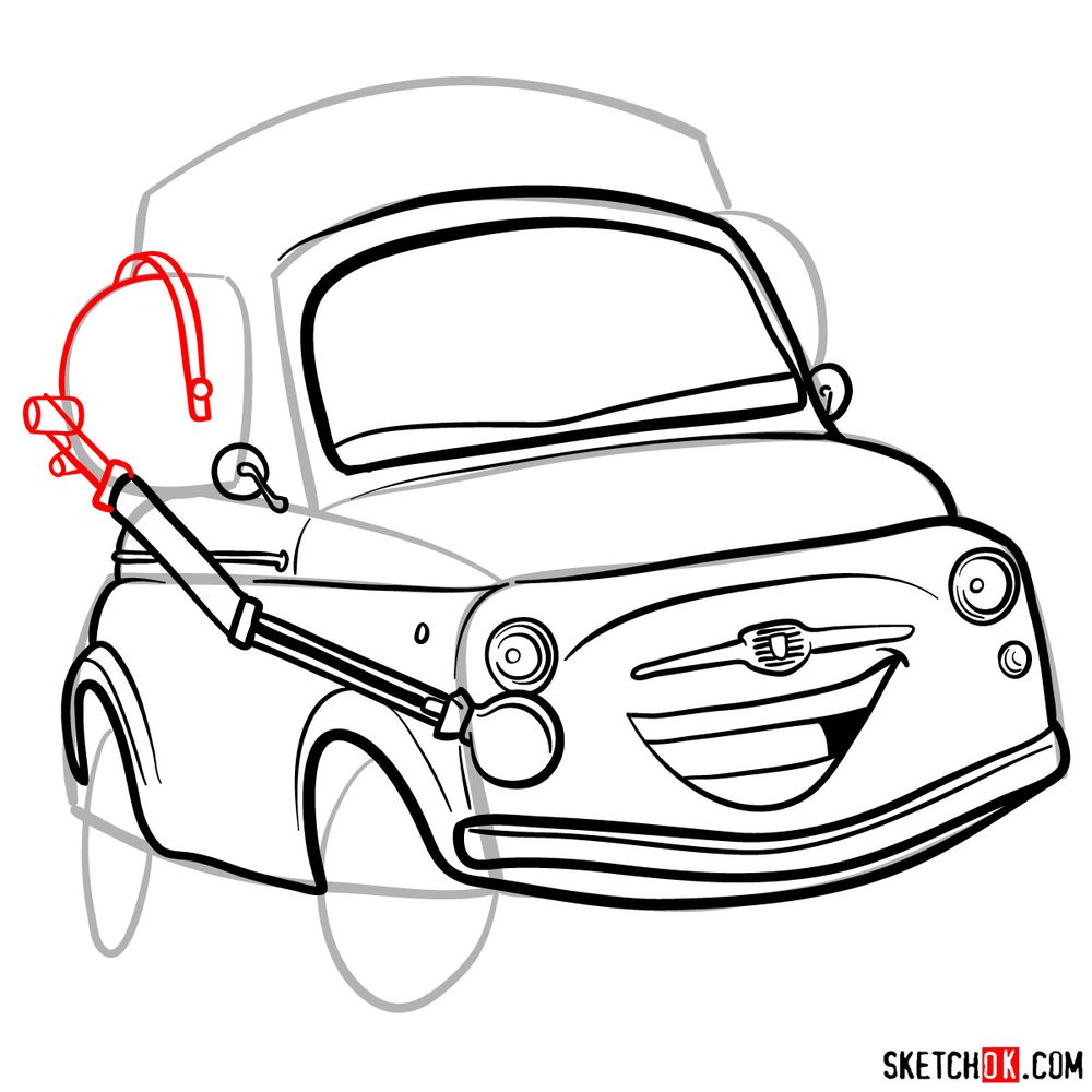 How to draw Luigi from Pixar Cars - step 11