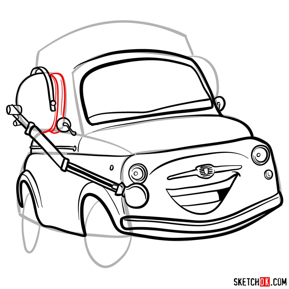 How to draw Luigi from Pixar Cars - step 12
