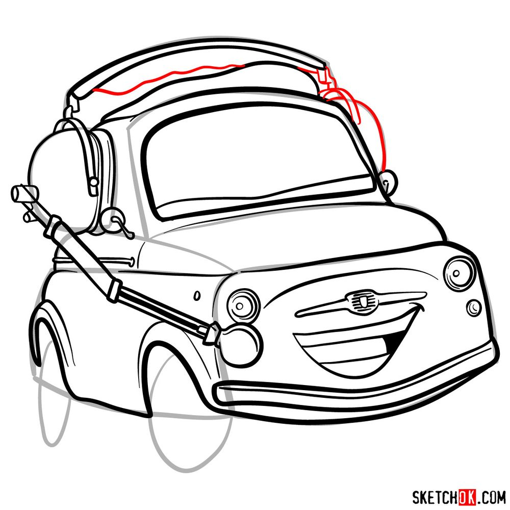 How to draw Luigi from Pixar Cars - step 14