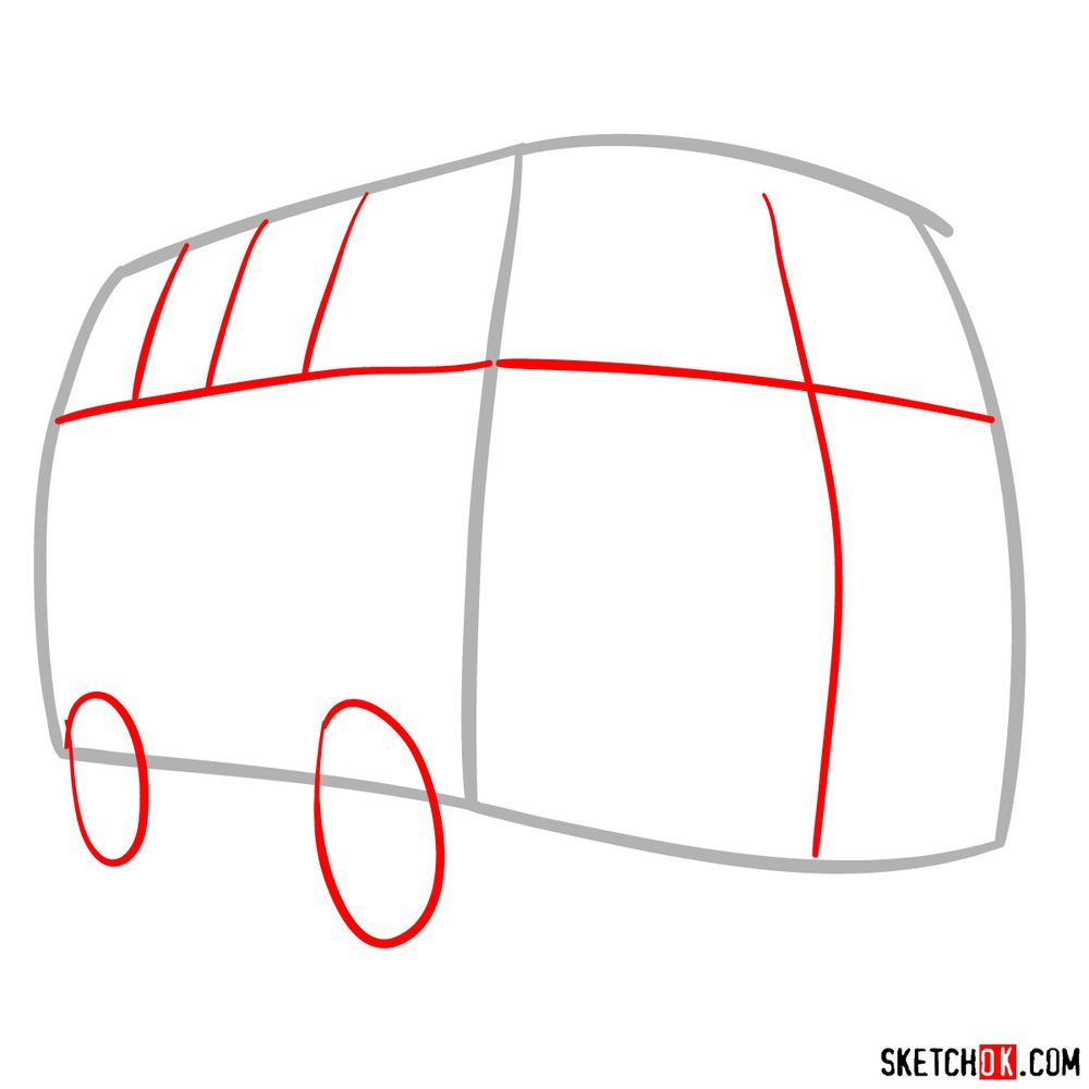 How to draw Fillmore from Pixar Cars - step 02
