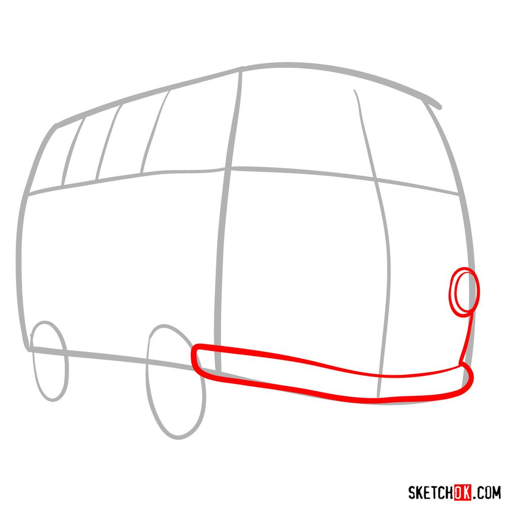 How to draw Fillmore from Pixar Cars - step 03