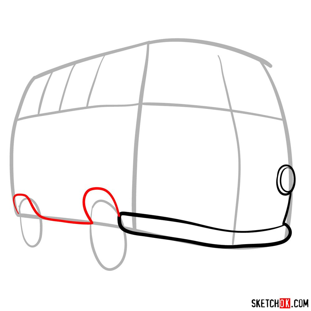 How to draw Fillmore from Pixar Cars - step 04