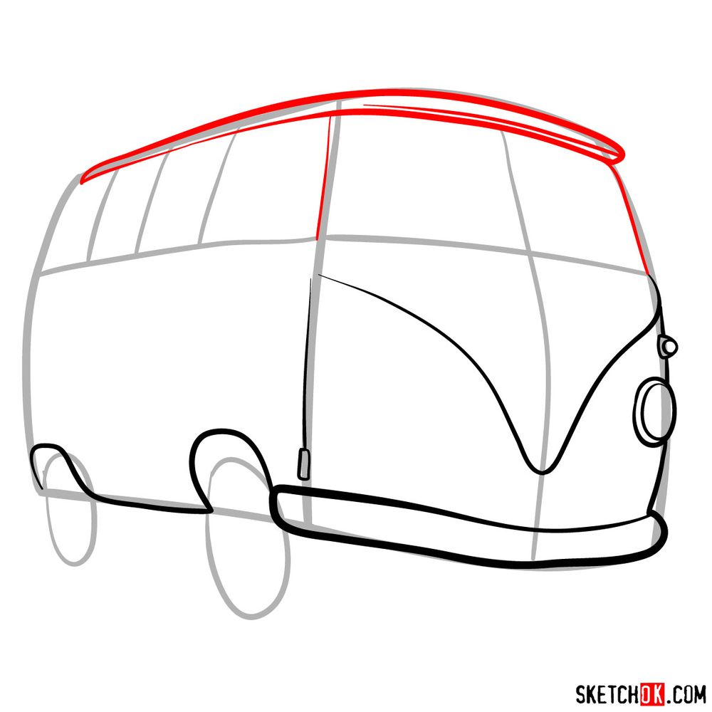How to draw Fillmore from Pixar Cars - step 06