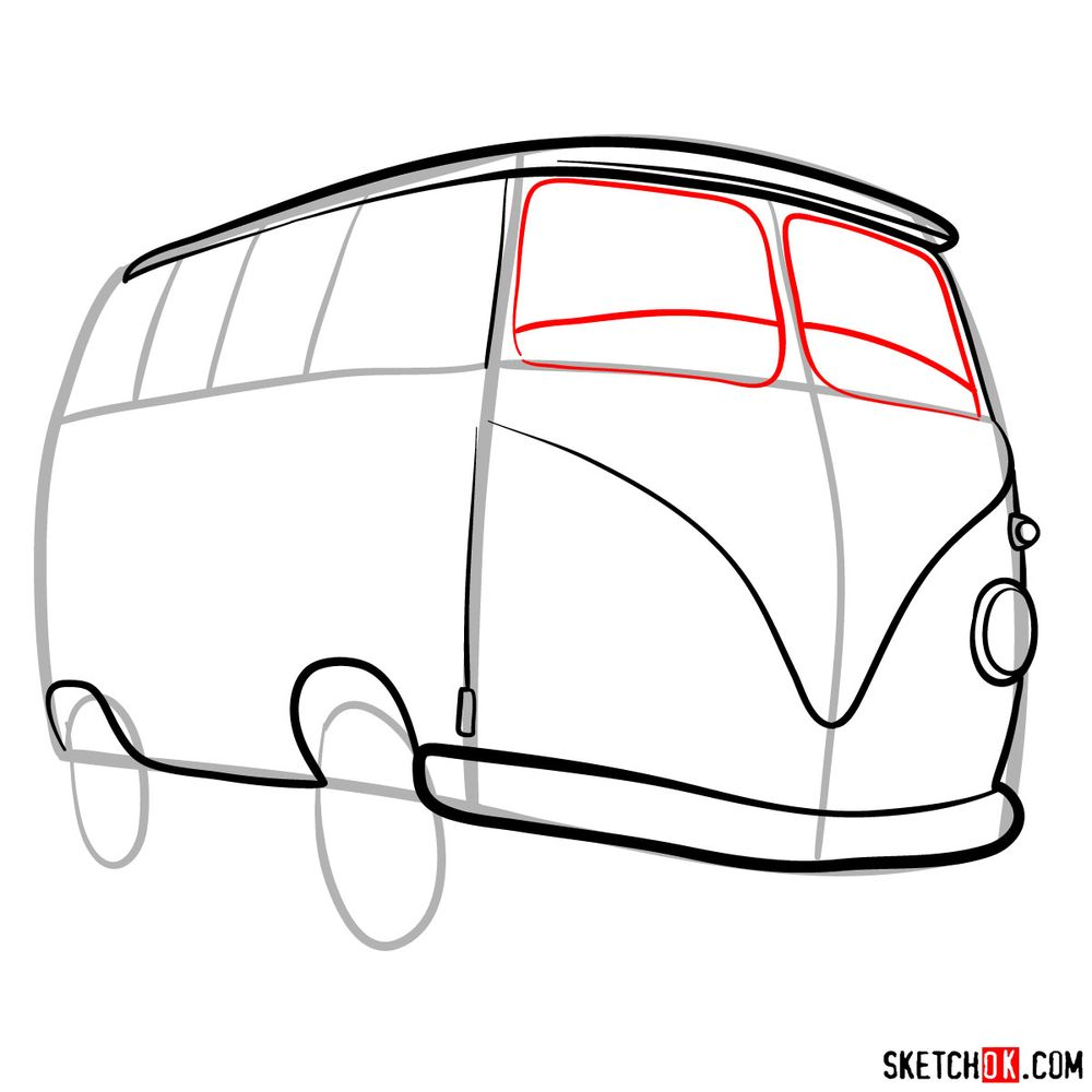 How to draw Fillmore from Pixar Cars - step 07