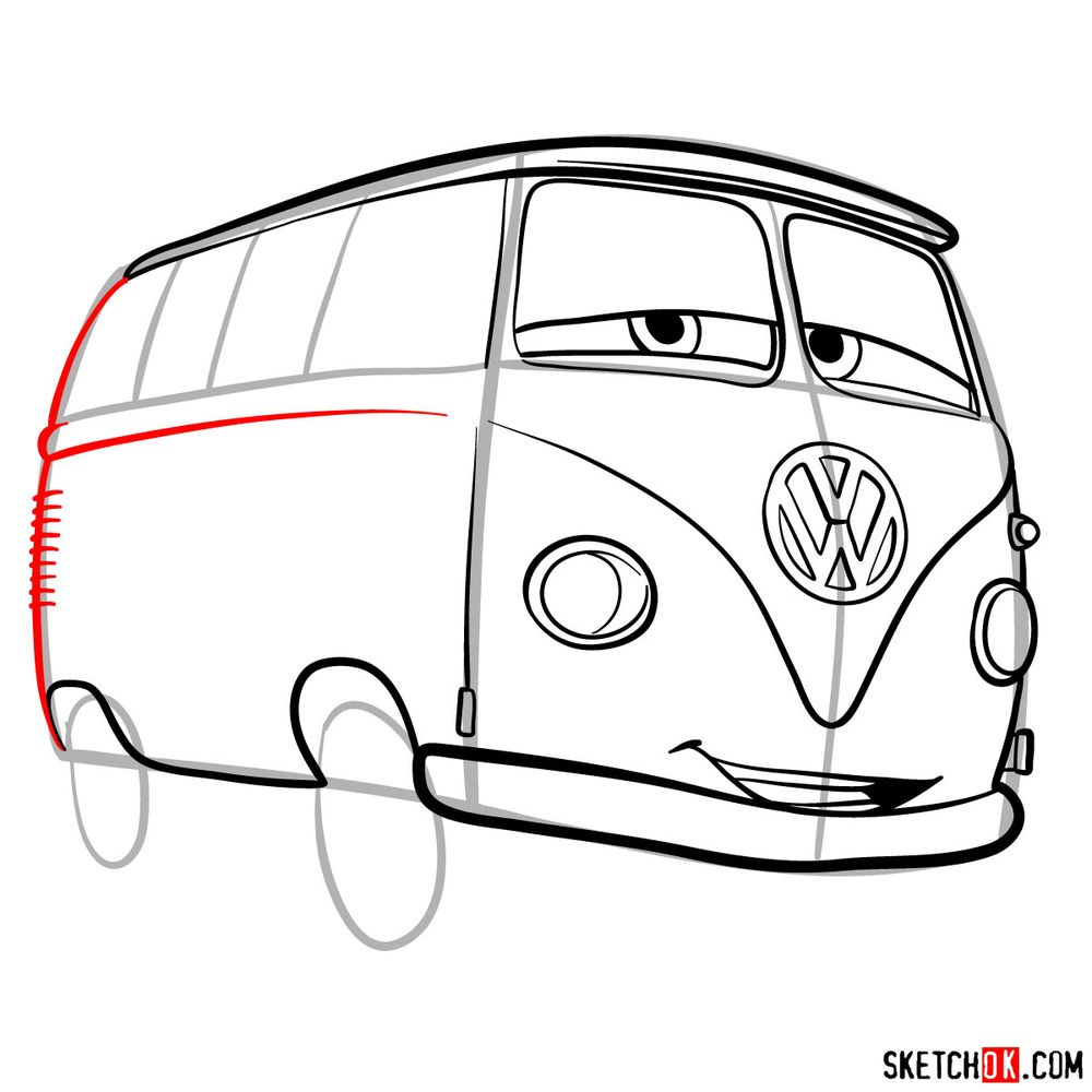 How to draw Fillmore from Pixar Cars - step 10