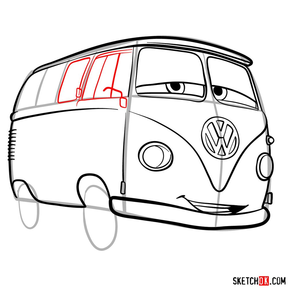 How to draw Fillmore from Pixar Cars - step 11