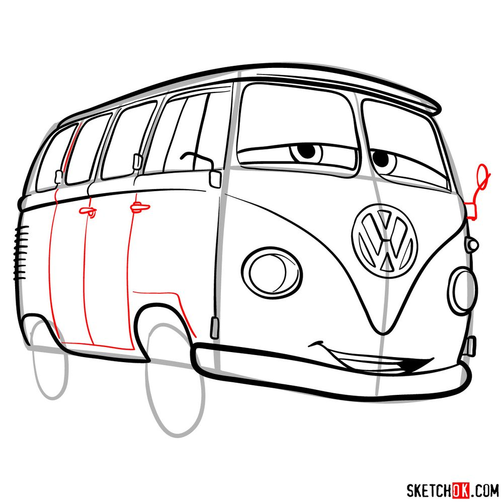 How to draw Fillmore from Pixar Cars - step 13