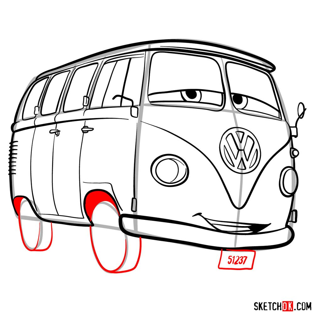 How to draw Fillmore from Pixar Cars - step 14